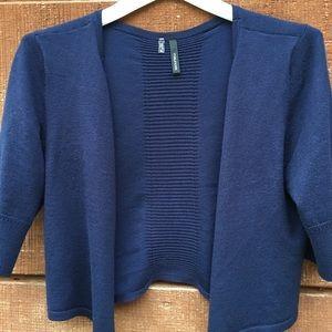 Navy elbow length/ waist length shrug sweater.